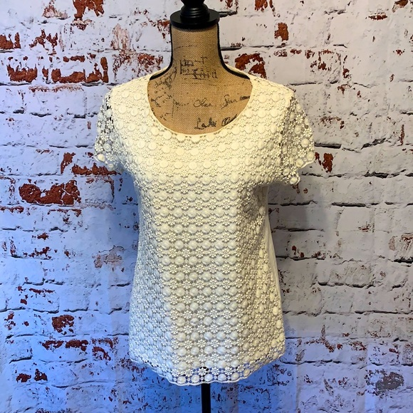 Lands' End Cream Lace Blouse Size Small